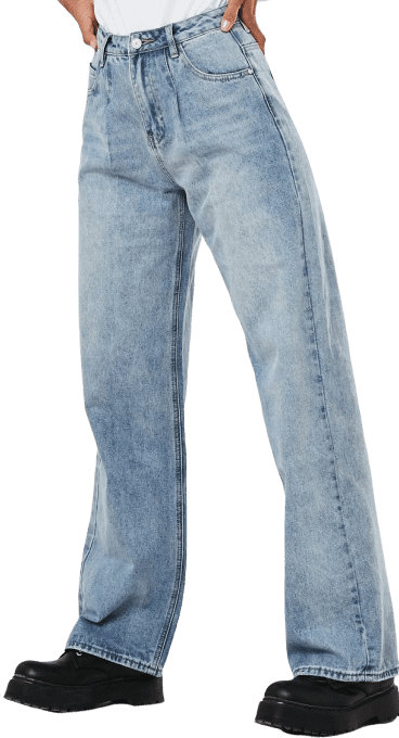 Light Blue Pleated Wide Leg Jeans-Missguided