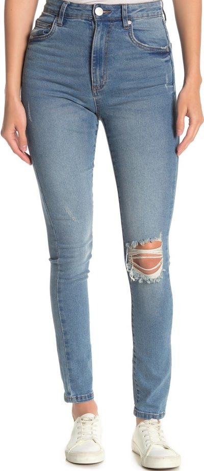 Mid Blue Wash Ripped High Waisted Skinny Jeans
