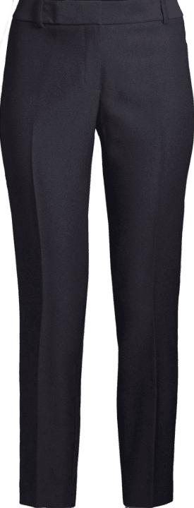 Navy Glat-Front Ankle-Length Pants