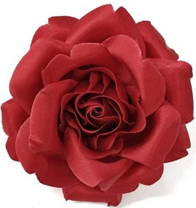 Red Satin Rose Flower Brooch