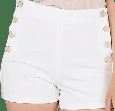 White High-Waisted button Sailor Midi Shorts