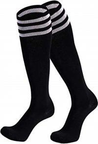 Black Knee High Stripe Football Socks-Dsource