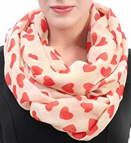 Heart Print Infinity Scarf-Lina & Lily