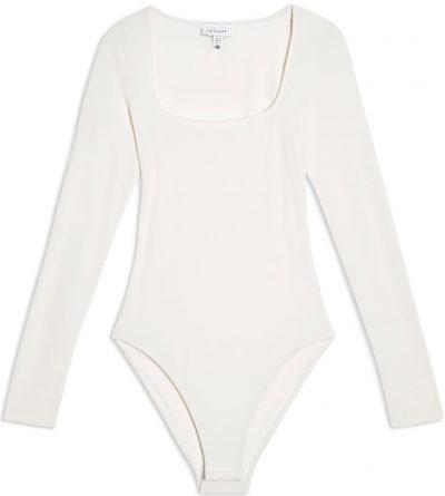 Ivory Long-Sleeve Square Neck Bodysuit