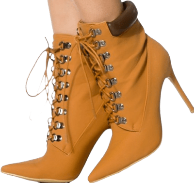 Mustard Pointy-Toe Stiletto Ankle Boots