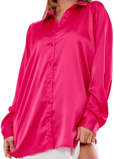 Pink Satin Extreme Oversized Balloon Sleeve Shirt-Missguided