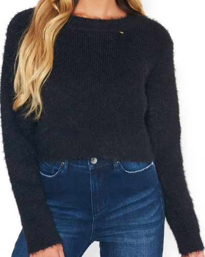Black Logo Crop Sweater-Bebe