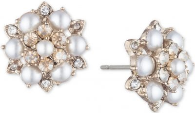 Gold-Tone Crystal & Imitation Pearl Cluster Button Earrings-Marchesa