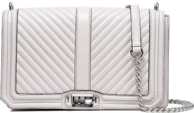 Light Gray Quilted And Smooth-Leather Shoulder Bag