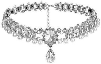 Silver Bohemian Water Drop Crystal Pearl Choker