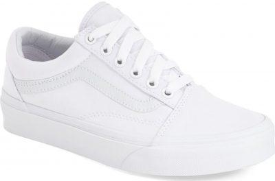 True White Canvas Old Skool Sneakers