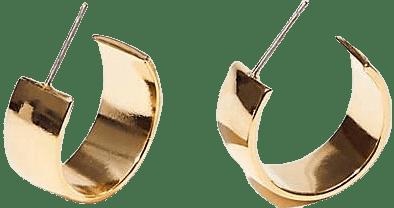 Gold Maslo Small Flat Hoop Earrings-Lou & Grey