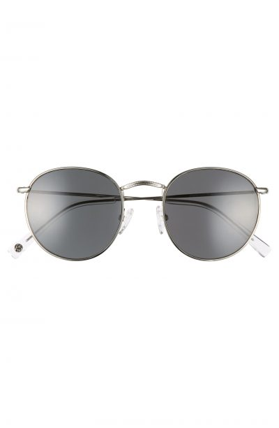 Silver Charlie 50mm Polarized Round Sunglasses