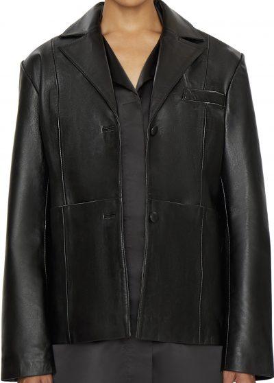 Black Classic Lamb Skin Leather Blazer-Danielle Guizio