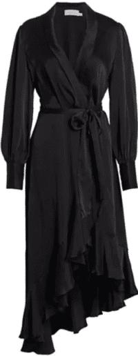 Black Super 8 Midi Silk Wrap Dress
