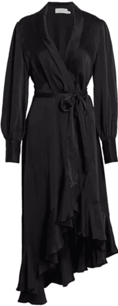 Black Super 8 Midi Silk Wrap Dress