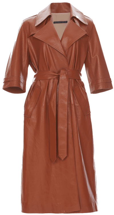 Brick Oversized Leather Trenchcoat