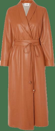 Brown Emery Vegan Leather Wrap Dress-Nanushka