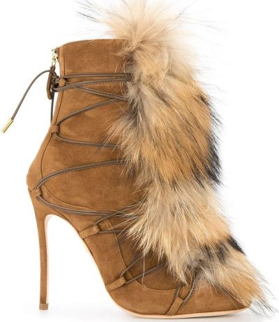 Brown Faux Fur Embellished Boots