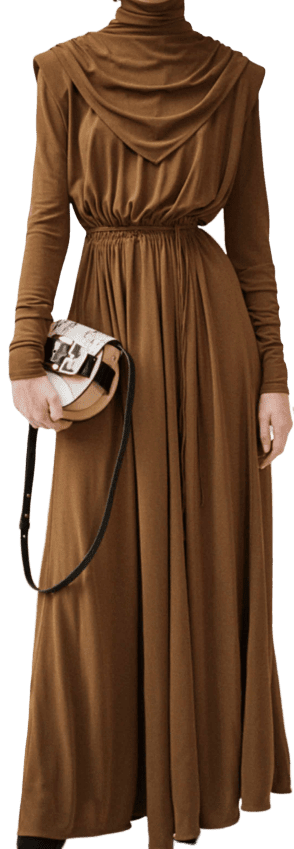 Brown Long-Sleeve Dress
