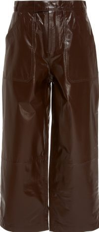 Brown Patent Leather Wide-Leg Pant