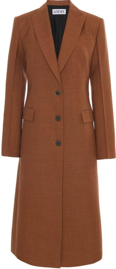 Brown Peaked Wool Overcoat-Loewe