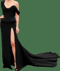 Black Custom Thigh-Slit Gown