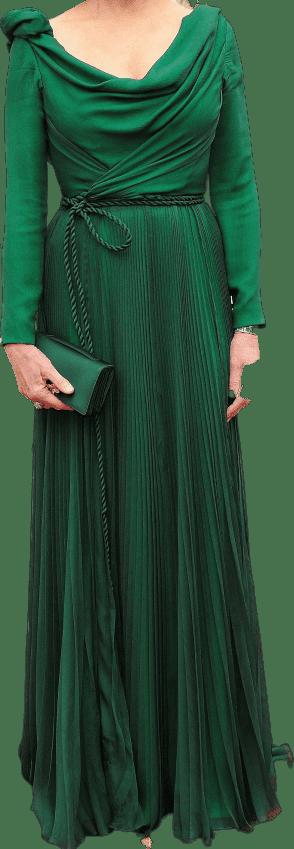 Green Custom Long-Sleeve Dress