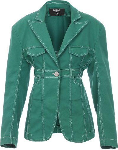 Green Peak-Lapel Denim Jacket