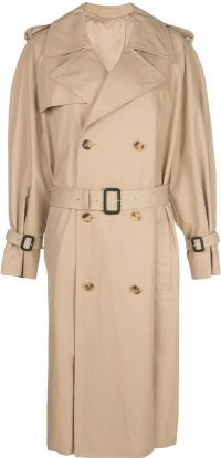 Khaki Beige Cotton Trench Coat