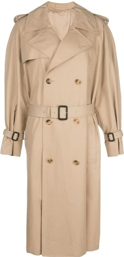 Khaki Beige Cotton Trench Coat