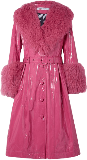 Neon Pink Belted Shearling-Trimmed Patent-Leather Coat-Saks Potts
