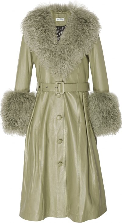 Olive Foxy Shearling-Trimmed Leather Coat-Saks Potts