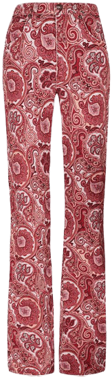 Red Paisley Pattern Flared Jeans-Etro