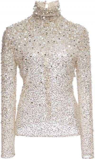 Silver Sequin Embellished Tulle Turtleneck-Valentino