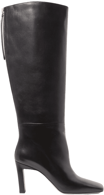 Black Isa Leather Knee Boots