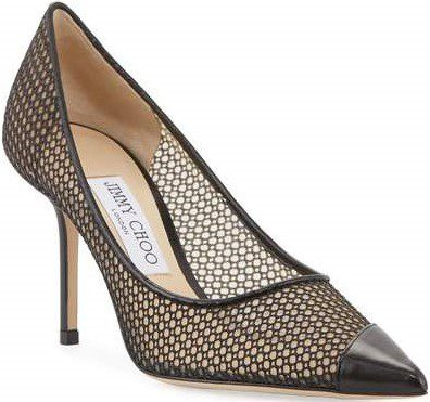 Black Love Mesh And Leather Pumps-Jimmy Choo