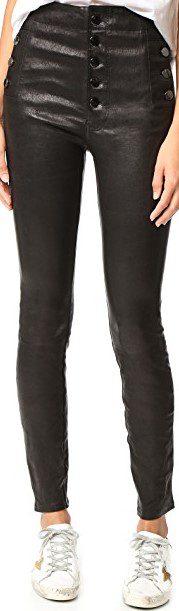 Black Natasha Leather Pants-J Brand