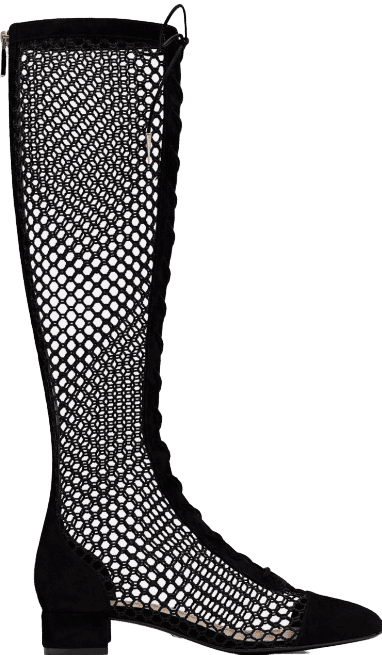 Black Naughtly-D Fishnet And Suede High Boot