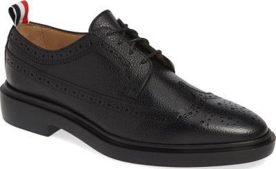 Black Pebbled Longwing Derby Shoe-Thom Browne