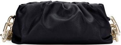 Black Ruched Napa Chain Clutch Bag-Bottega Veneta