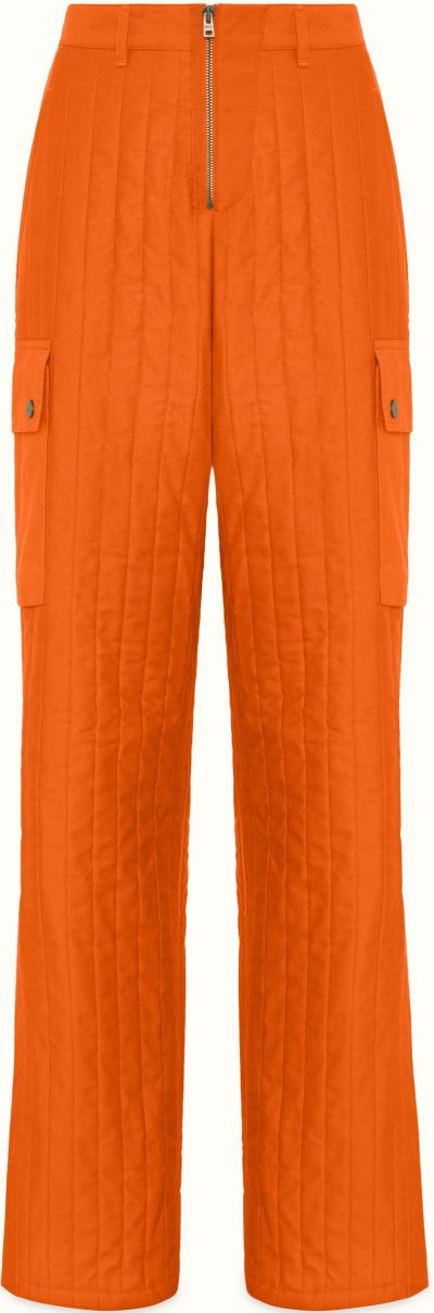 Burnt Orange Quilted Baggy Pants-Fenty
