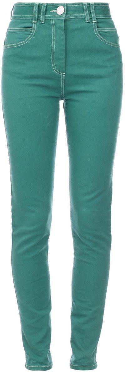 Green High-Rise Monogram-Detailed Skinny Jeans