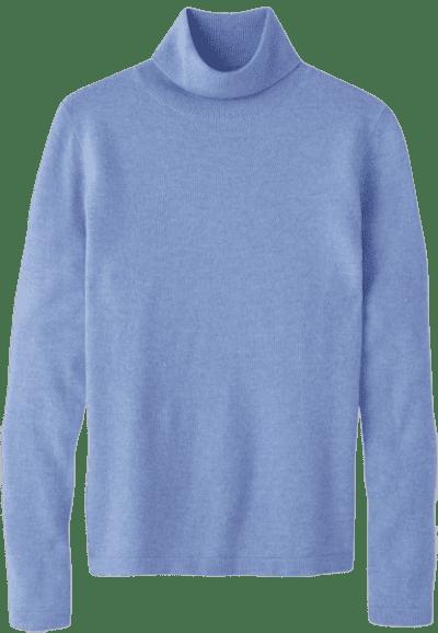 Heather Cornflower Cashmere Roll Neck Sweater