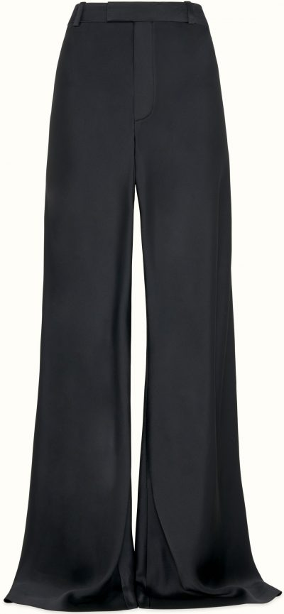 Jet Black Xlong Wide Satin Pants