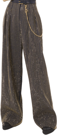 Midnight Crystal Pinstripe Double Crepe Sablé Trousers