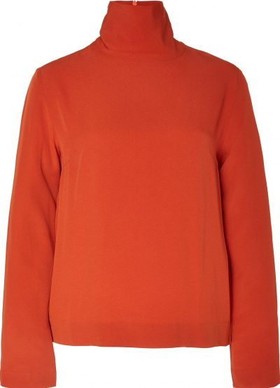 Orange Crepe Turtleneck Top