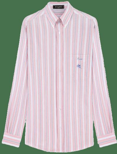 Pink Striped Shirt With Pegaso Logo-Etro