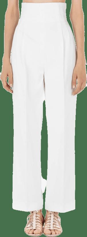 White Cotton Gabardine Dress Pant-Alaia