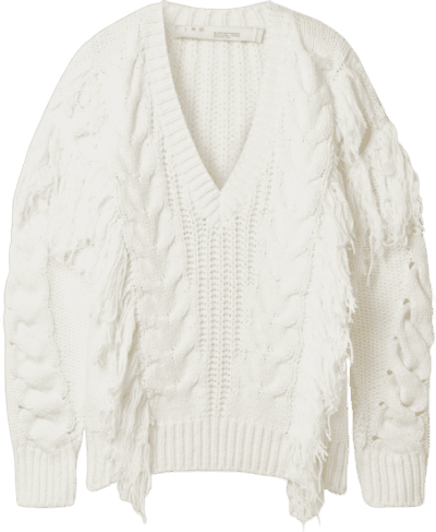 White Wynd Fringed Cable-Knit Cotton Sweater